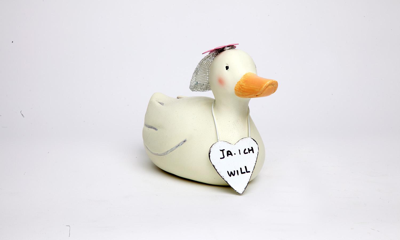 Aufsteller Ente mit Schild Dekoration Hochzeit Braut Dekofigur Baden Import