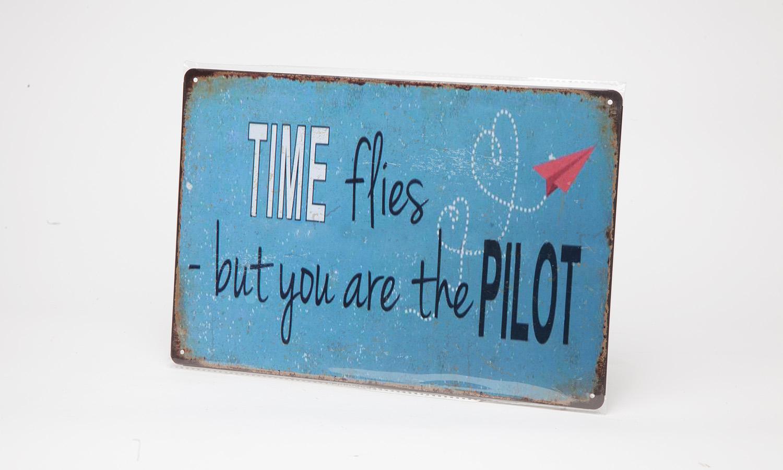 """Blechschild """"Time flies.."""""""