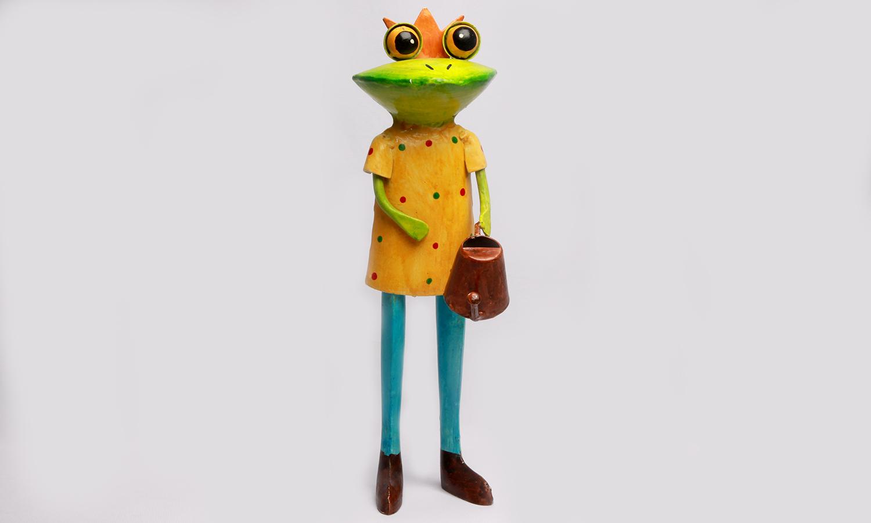 Exner Metall Frosch Figur mit Gießkanne