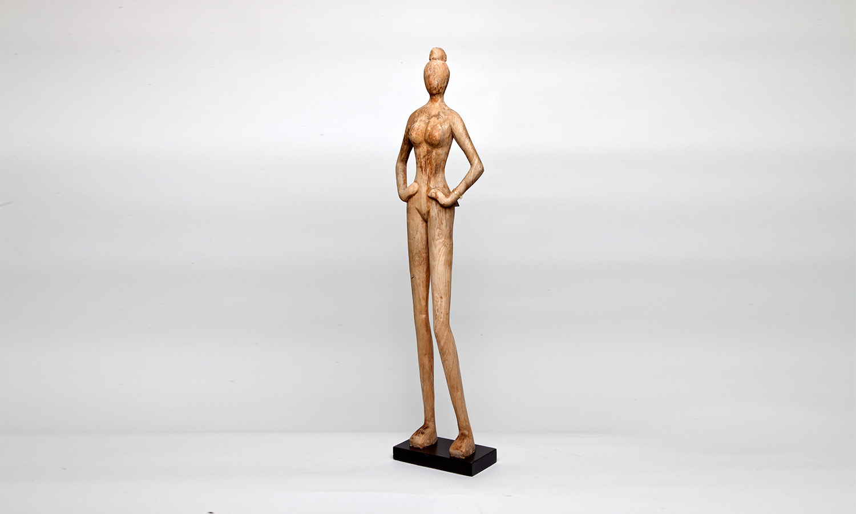 Artisanalfigur Exner Holz Skulptur Frau edel