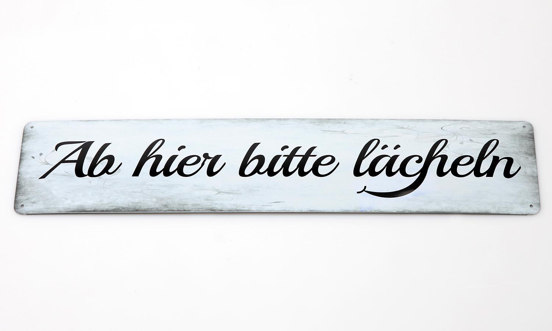 Deko Blechschild / Ab hier bitte Lächeln