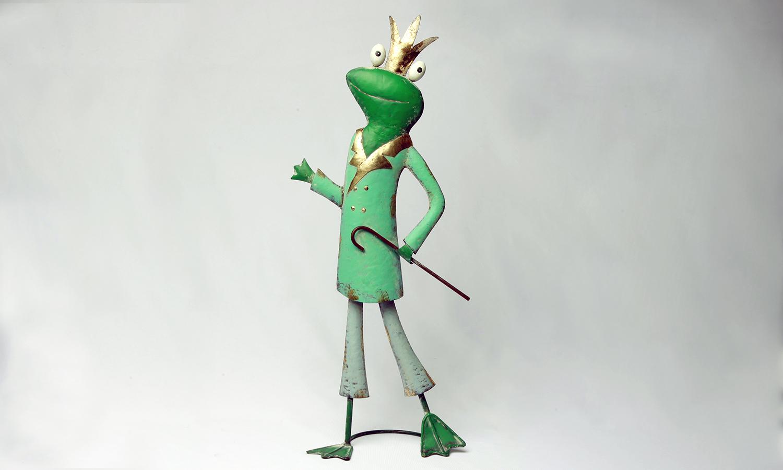 Deko Frosch Figur mit Stock