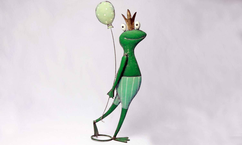 Deko Frosch Figur mit Ballon