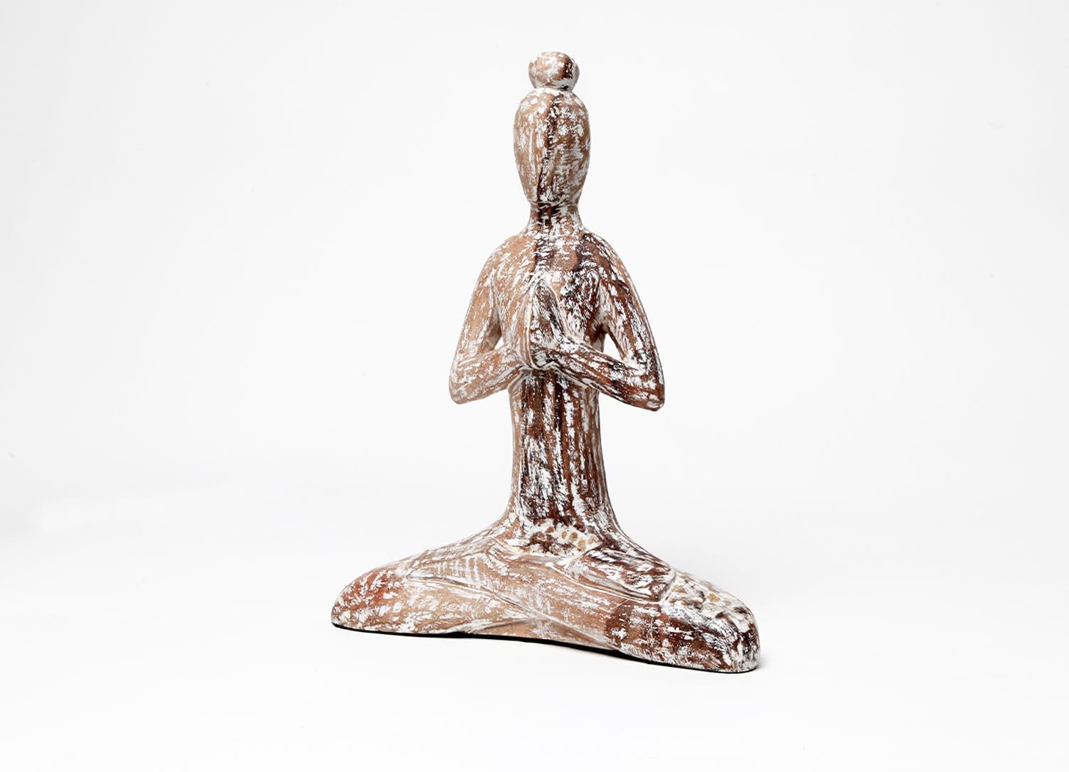 Exner Holz Skulptur Artisanal Yoga Dekofigur Naturholz Massiv Modern Deko Objekt Braun Weiß Natur