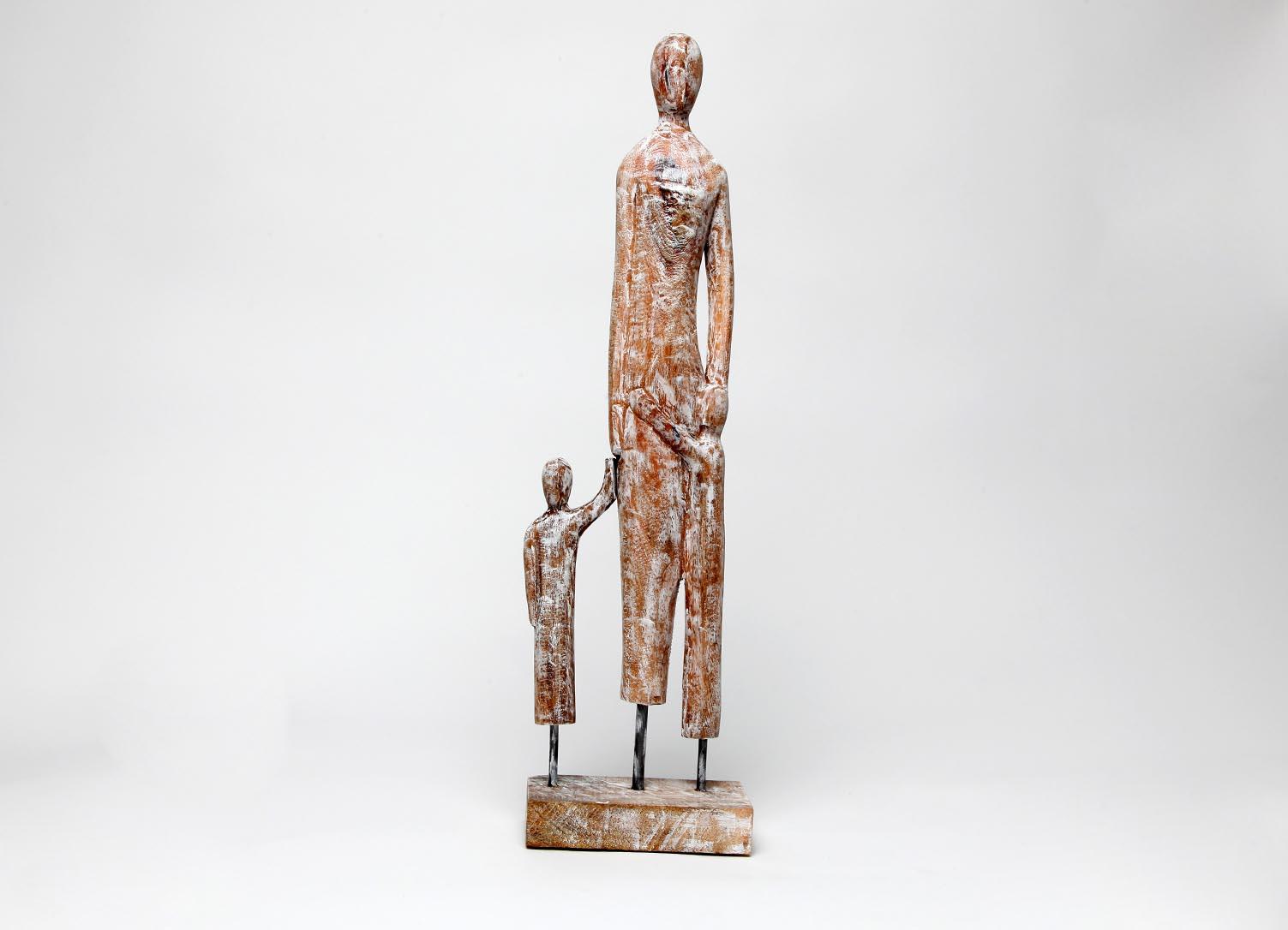 Exner Skulptur Familie Artisanal Figur Dekofigur 55 x15 cm Holzfigur