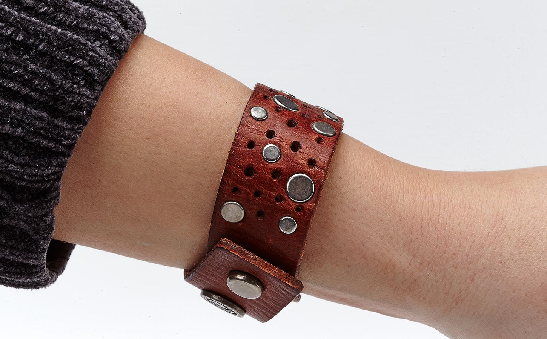 Modearmband Lederoptik rot/braun -Unisex