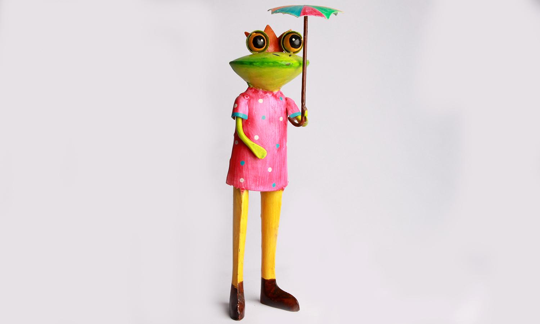 Exner Metall Frosch Figur mit Regenschirm